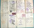 Паспорт УРСР для виїзду за кордон 1927, розгорт сторінок із візами.jpg