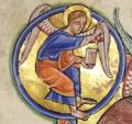 Символ евангелиста Матфея. Фрагмент миниатюры Христос во славе. Абердинский бестиарий.png