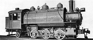 Nevada Northern Railway - 0-6-2 Saddle Tank Locomotive for Switching Service. Built by the Baldwin Locomotive Works for the Nevada Consolidated Copper Co.