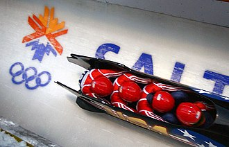 The 2002 Olympic emblem on the bobsleigh track at Utah Olympic Park 020222-N-LW438-002.JPEG