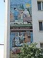 1160 Wiesberggasse Roseggergasse 17 - Kachelwandbild Peter Rosegger - Da Regenschirm, Als ich Schullehrer war IMG 3115.jpg