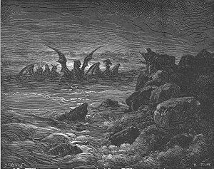 Four kingdoms of Daniel - Daniel's Vision of the Beasts, 1866 engraving by Gustave Doré.