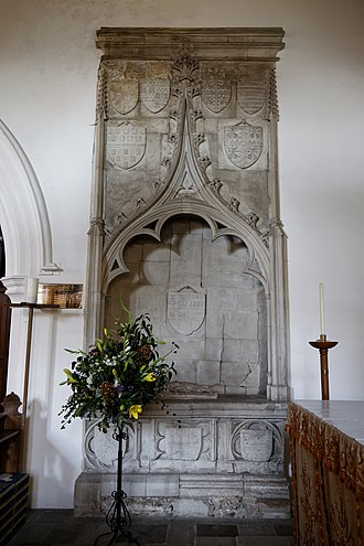 Robert Bourchier, 1st Baron Bourchier - Monument in Little Easton Church, Essex, showing on the main central shield the arms of Bourchier impaling Louvain, signifying the marriage of  William Bourchier (d.1375) and Eleanor de Louvaine. The Louvain arms are shown above quartered by Bourchier, being the arms of progeny of that marriage