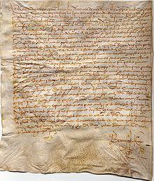 Atto notarile del 1557 vergato su pergamena