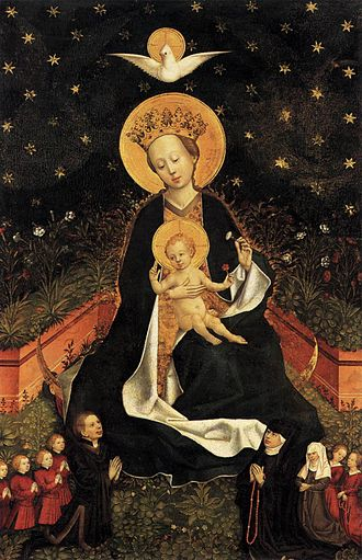 Hortus conclusus - The Madonna on a Crescent Moon in Hortus Conclusus by an anonymous painter.