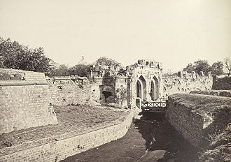 52nd (Oxfordshire) Regiment of Foot - Kashmir Gate, Delhi, showing damage sustained during the 1857 assault. Photo taken in the 1860s