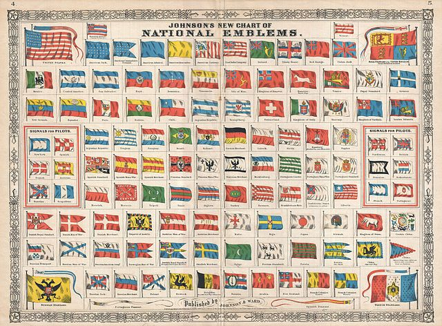 Postage Rate Chart: 1864 Johnson Chart of the Flags and National Emblems of the ,Chart