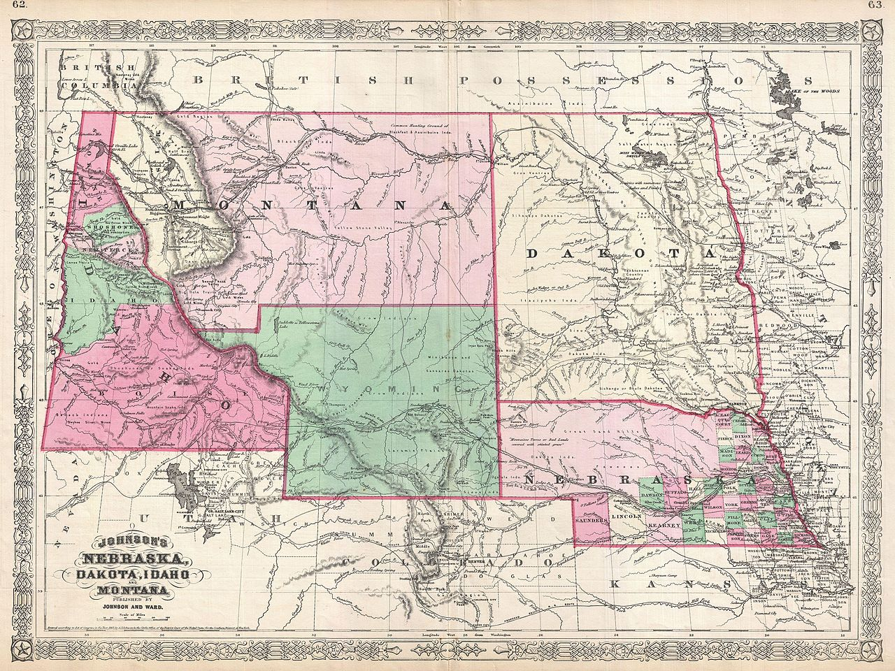 File 1866 Johnson Map of Montana Wyoming Idaho Nebraska and Dakota Geogr