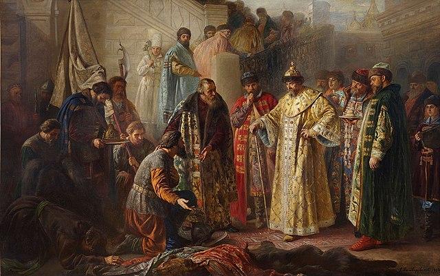 Посланники от Ермака на красном крыльце перед Иваном Грозным. Картина С. Р. Ростворовского, 1884 год