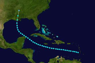 1890 Atlantic hurricane season - Image: 1890 Atlantic tropical storm 2 track