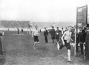 Athletics at the 1908 Summer Olympics – Men's 3200 metres steeplechase - Arthur Russell finishing first in front of Archie Robertson.