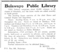 1922 Bulawayo Public Library advert Bulawayo Chronicle 30 December.png