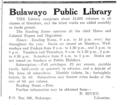 1922 Bulawayo Public Library advert Bulawayo Chronicle 30 December.png