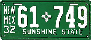 Vehicle registration plates of New Mexico - Image: 1932 New Mexico license plate