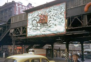 State/Lake station - The station in 1949 decorated for Christmas