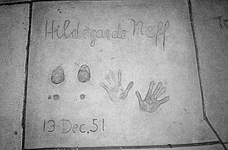 Hildegard Knef - Hildegard Knef's hand and footprints at Grauman's Chinese Theatre, Hollywood