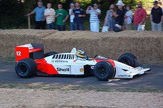 McLaren MP4/4 - Bruno Senna demonstrating an MP4/4 at the Goodwood Festival of Speed, 2009.