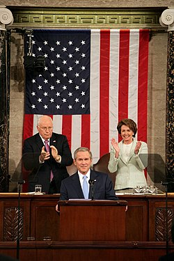 President George W. Bush's 2007 State of the Union address.  Over the President's right shoulder is Cheney; over his left is Speaker of the House of Representatives Nancy Pelosi.