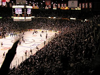 Pre-game warmups prior to a Memorial Cup game. The tourney serves as the championship for the major junior Canadian Hockey League. 2007 Memorial Cup warmup.JPG