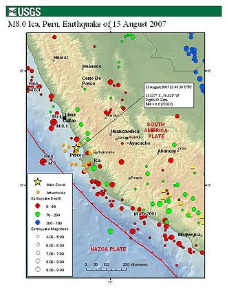 2007 Peru earthquake - Main shock and aftershocks map