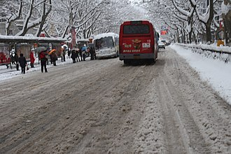 2008 Chinese winter storms - North Zhongshan Road, Nanjing on 28 January 2008