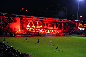 Stade Jules Deschaseaux - Fans unfurled a banner at Le Havre's last match at Stade Jules Deschaseaux on 18 May 2012.