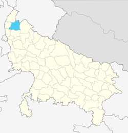Location of Muzaffarnagar district in Uttar Pradesh