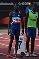 2013 IPC Athletics World Championships - 26072013 - Ananias Shikongo and guide Even Tjiviju of Namibia preparing for the Men's 100m - T11.jpg