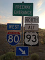 2014-06-10 20 05 55 Signs for westbound Interstate 80 and northbound Alternate U.S. Route 93 at the north end of Florence Way in West Wendover, Nevada.JPG