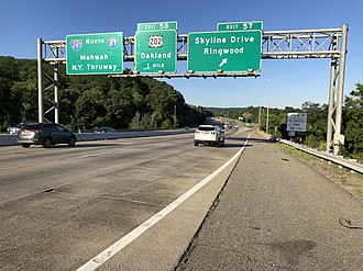 Oakland, New Jersey - I-287 northbound in Oakland