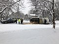 2019-01-13 15 48 56 Fairfax County Police, Fire and Rescue on the scene of a tipped-over plow truck during a heavy snowfall along Franklin Farm Road in the Franklin Farm section of Oak Hill, Fairfax County, Virginia.jpg
