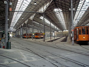 Messina tram depot - Interior of the Messina tram depot