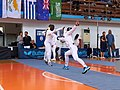 2nd Leonidas Pirgos Fencing Tournament. Advance lunge by Eleftheria Mimigianni, counter-attack by her opponent.jpg