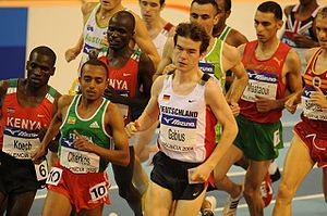 Edwin Soi - Soi (centre left) running in the 2008 World Indoor final in Valencia