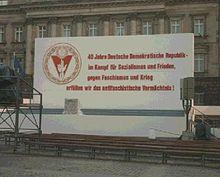 Annonce du 40eanniversaire de la RDA, septembre 1989.
