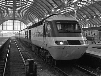 High-speed rail in Europe - An InterCity 125 train at Hull Paragon station in 1982. The InterCity 125 is the world's fastest diesel train.