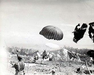 Battle of Corregidor (1945) - Paratroopers of the 503rd PRCT descend on Corregidor, 16 February 1945.