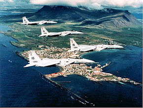 57th Fighter-Interceptor Squadron F-15 Eagles over Iceland 1986.jpg