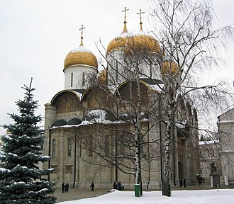 Dormition Cathedral, Moscow - The Cathedral of the Dormition, Moscow Kremlin (east façade, winter).