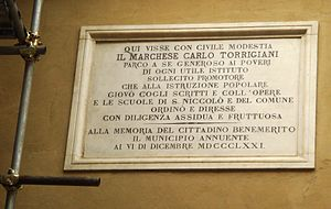 Palazzo Nasi - Plaque of façade of palace recalling Carlo Torrigiano