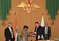 A. K. Antony and his Russian counterpart, Mr. AE Serdyukov exchanging the signed protocol after the 11th Meeting of the India-Russia Inter-governmental Commission on Military and Technical Cooperation(IRIGC-MTC), in Moscow.jpg
