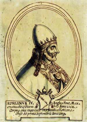 Papal coats of arms - Pope Adrian IV (d. 1159, born Nicholas Breakspear, the only Englishman to occupy the papal throne) did not use a personal coat of arms; Nevertheless, he was given attributed arms (showing a broken spear) in this 17th-century portrait.