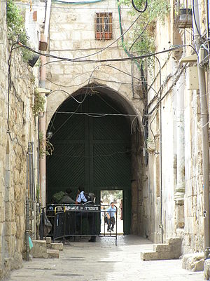 Temple Mount entry restrictions - Israeli Police guard an entrance to the Temple Mount