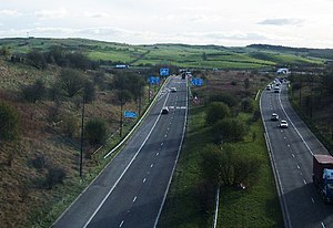 A627(M) motorway - Looking towards the M62 junction