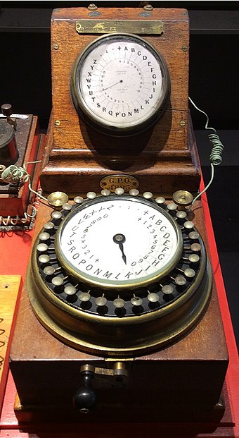 "A magneto-powered Wheatstone A. B. C. telegraph with the horizontal ""communicator"" dial, the inclined ""indicator"" dial and crank handle for the magneto that generated the electrical signal. ABC machine.jpg"