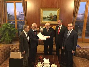 Turkish constitutional referendum, 2017 - The AKP presenting their constitutional proposals to Parliament Speaker İsmail Kahraman, December 2016