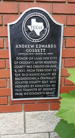 Photo of Andrew Edwards Gossett black plaque