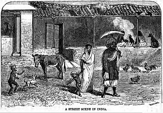 Ulsoor - A Street Scene in India, Outside the Wesleyan Girls School, Bangalore (January 1869, p.7)