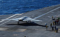 A U.S. Navy X-47B unmanned combat air system demonstrator aircraft prepares to launch from the flight deck of the aircraft carrier USS Theodore Roosevelt (CVN 71) Nov. 10, 2013, while underway in the Atlantic 131110-N-GN619-041.jpg