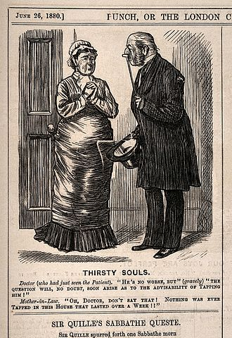 Mother-in-law joke - A doctor informs his patient's mother-in-law that he may need to resort to tapping - she misunderstands him as meaning tapping alcohol. Wood engraving by C. Keene, 1880.